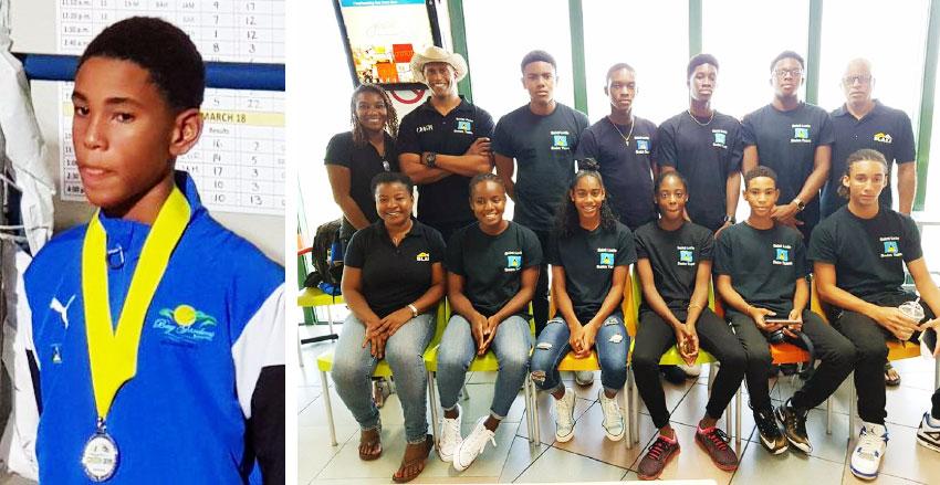 Image: (L-R) D'Andre Blanchard (CARIFTA medalist); A photo moment for members of the CARIFTA Team (SJSC).