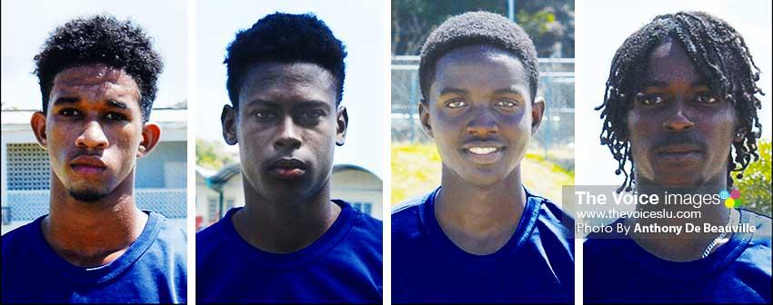 Image: (L-R) Dominic Auguste (SALCC), Garvin Serieux (Micoud Secondary), Kimani Melius (Babonneau Secondary) and Dane Edward (SALCC).(PHOTO: Anthony De Beauville)