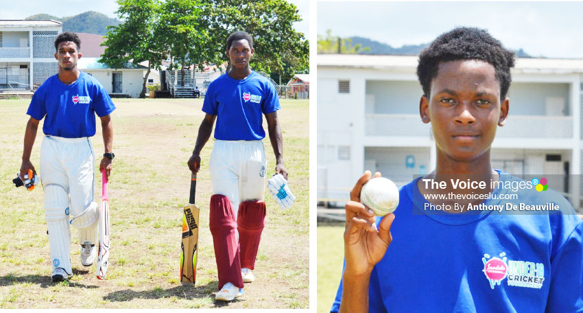 Image: (L-R) Dominic Auguste 18 not out and Lee Solomon 46 not out; Udel Preville picked up 3 for 18 for Gros Islet. (PHOTO: Anthony De Beauville)