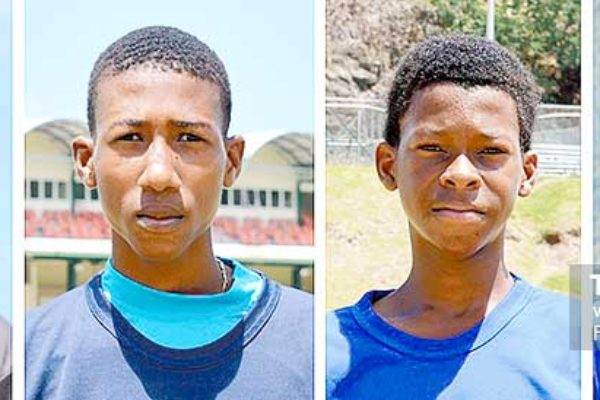 Image: (L-R)Hanif Antoine (110 for Choiseul), Sanjay Hayle -SALCC picked up 4 for 8, Simeon Gerson SMC took 2 for 34 Jehan Boodha SMC chipped in with 20 (Photo: Anthony De Beauville)