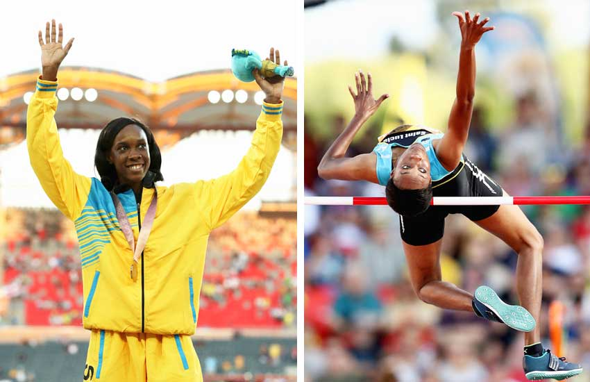 Image: Levern Spencer of Saint Lucia competes in the Women's High Jump final; Gold medalist Levern Spencer of Saint Lucia celebrates during the medal ceremony for the Women's High Jump (Photo: Mark Metcalfe/Getty Images Asia Pac)