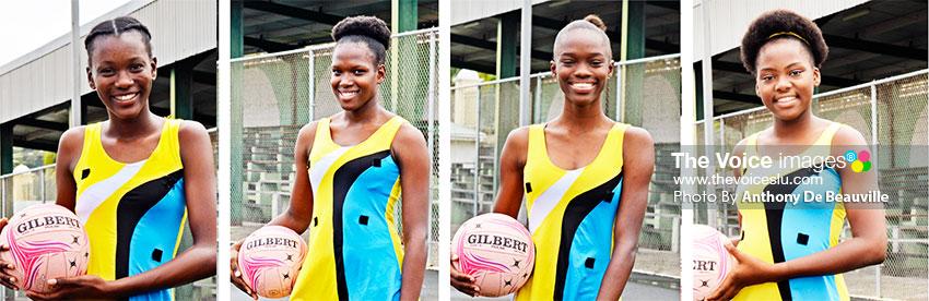 Image: ( L-R) Megan Nestor (captain), Dasha Eugen (vice-captain), Bernet Joseph and Racquel John are players to watch on Team Saint Lucia (Photo: Anthony De Beauville)