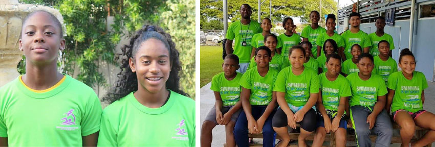 Image: (L-R) Naekeisha Louis and Naima Hazell 2018 CARIFTA swimmers; Team LA at RHAC 19th Invitational swim meet (Photo: LASC)