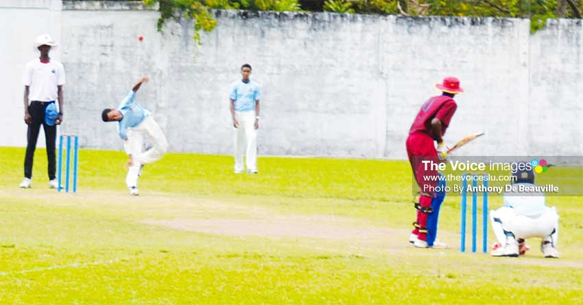 Image: Orthodox left arm spinner and SMC captain Simeon Gerson bowls a delivery.( PHOTO: Anthony De Beauville)