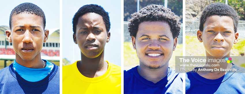Image: (L-R) Sanjay Hayle (SALCC), Ryan Goodman (SMC), Rene Montoute (Babonneau Secondary), Simeon Gerson (SMC). (PHOTO: Anthony De Beauville)