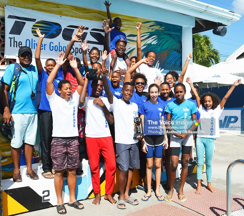 983a10c748 Image: Seajays Swim Club celebrate their victory (Photo: Anthony De  Beauville)