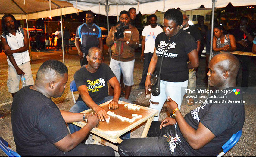 Image: (L-R) A tense moment for the three finalists Zaquin Mathurin, the eventual winner Francis Charlery just about to play and Sylvius Gabriel. (PHOTO: Anthony De Beauville)