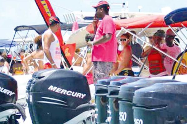 Image of A scene from a past Mercury Beach party to Pigeon Island national landmark.