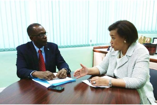 Image: Baroness Patricia Janet Scotland, Secretary General of the Commonwealth paid a courtesy call on the Leader of the Opposition Philip J Pierre on Thursday April 26th 2018, during which they held discussions on Commonwealth matters and other issues of concern to Saint Lucia, the Caribbean and the British Commonwealth. A native of the Commonwealth of Dominica, Baroness Scotland also served as Attorney General of Great Britain before being elected to the prestigious post as the nominee of Dominica. She defeated Antigua and Barbuda's nominee Sir Ronald Saunders. The Baroness also visited other OECS territories during her recent Caribbean visit.