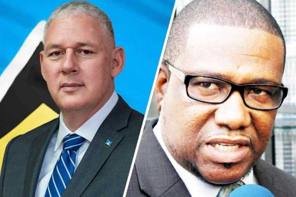 Image of Prime Minister Allen Chastanet and Alva Baptiste, 1st Deputy Political Leader of the Opposition
