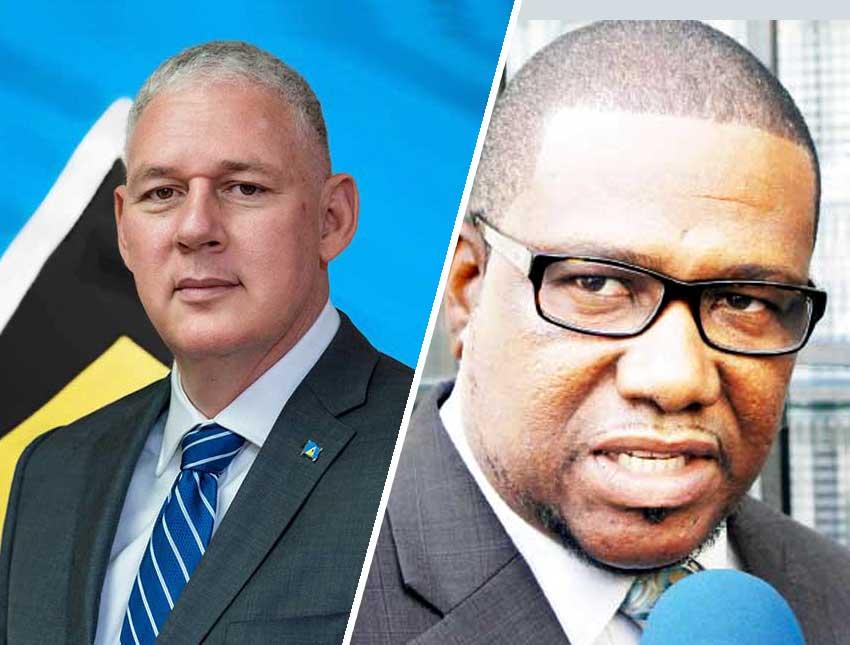 Image of Prime Minister Allen Chastanet and Alva Baptiste, 1st Deputy Political Leader of the Opposition