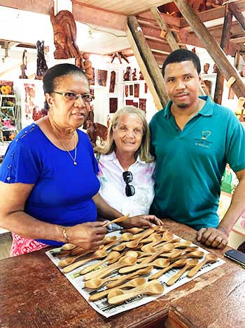Image of Nina's mother, Lady Janice Compton(centre), with members of the Eudovic family, who donated the spoons for the Bywater American Bistro and Compere Lapin