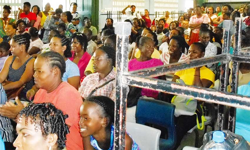 Image of parents at Vieux Fort Primary School meeting.