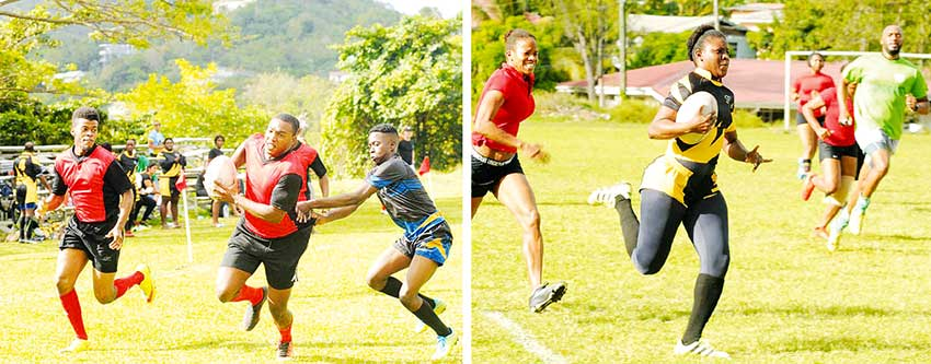 Image: (L-R) Some of the action on Saturday between Rogues and Whiptail Warriors; Le Sport (red) versus VBCC. (PHOTO: DP).