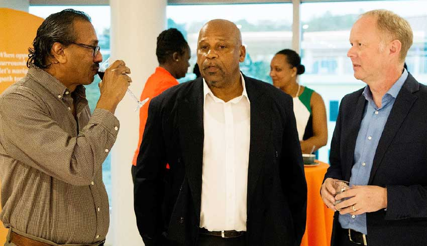 Image of Acting PM Ezekiel Joseph (centre) was among guests.
