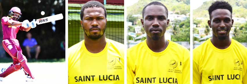Image: (L-R)Alick Athanaze 101 (Dominica), Johnson Charles 91, Jamal James 70 and Larry Edward 46 (Saint Lucia) (Photo: IDI/ Getty Images/ Anthony De Beauville)