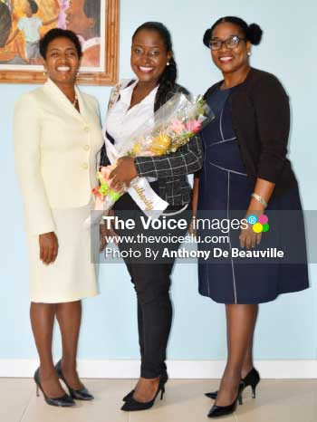 Image: (L-R) Chairman National Lotteries Authority -Nancy Charles, NLA representative at the Queen pageant Cassie Emmanuel and former carnival queen and Director of the Dennery Carnival Committee - Patrika Evence (Photo: Anthony De Beauville)