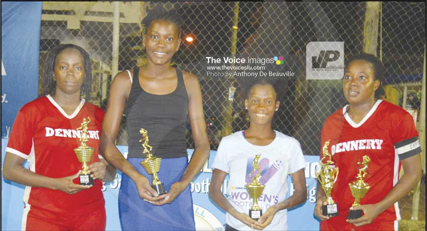 img: (L-R) Ayana Vitalis -Best Defender (Dennery), Megan Nestor- Best Goalkeeper( Soufriere Canaries), Stephanie Allain -Best Midfield Player (Soufriere) and Elisa Marquis - Most Goals and MVP of the tournament. (PHOTO: Anthony De Beauville)