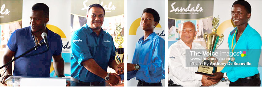 Image: (l-r) Former West Indies Captain Daren Sammy addressing the young cricketers, Sandals Regional Public Relations Manager Sunil Ramdeen presenting the MVP award to Simeon Gerson, Sandals Managing Director Winston Anderson presenting Gros Islet Kimani Melius with the championship trophy (Photo; Anthony De Beauville)