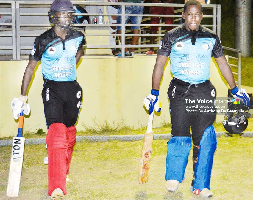Image of (L-R) Gros Islet Knights opening batmen Kimani Melius and Vidal Crandon scored 70 runs partnership in 8.1 overs (PHOTO: Anthony De Beauville)