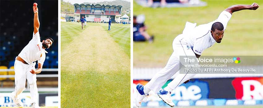 Image: Lahiru Kumara, the DSCG pitch and Shannon Gabriel. (PHOTO: AFP/ Anthony De Beauville)