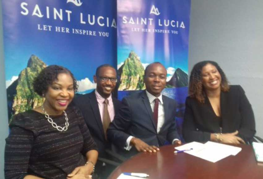 img: Minister Fedee (3rd from left) with SLTA officials, savouring the good news from the latest tourism statistics.