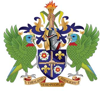 Image of Saint Lucia's Coat of Arms, designed by Sydney Bagshaw