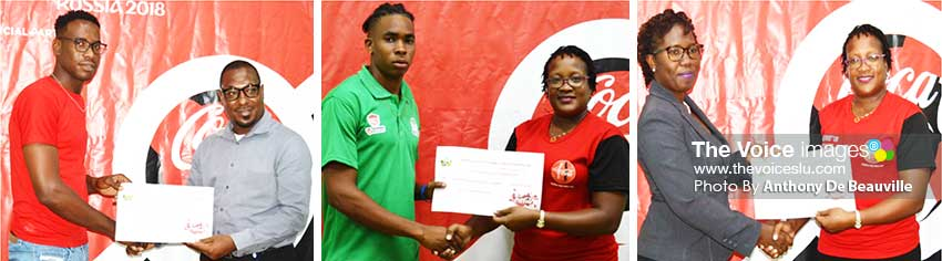 Image: (L-R) A representative from Mabouya receiving the 2nd place cheque $15,000 from SLFA Vice President Kendal Emmanuel; a representative from Vieux From South and Gros Islet receiving the 3rd and 4th place cheque $10,000 and $5000 respectively from Coca Cola Junior Brand Manager, Junior Haynes. (Photo: Anthony De Beauville)