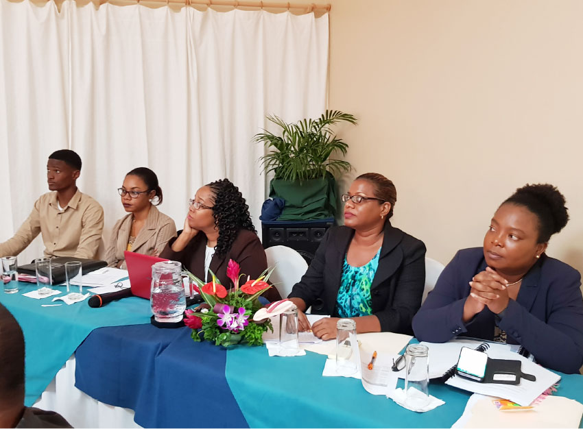 Image: Members of the Caribbean Financial Action task Force (CFATF), the Solicitor General and the Permanent Secretary in AG's Chambers sat at the head table.