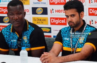 Image: (l-r) Daren Sammy and Mohammed Khan at Wednesday pre match press conference at the Harbor Club (Photo: Anthony De Beauville)