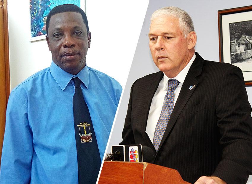 Image of Saint Lucia Teachers Union (SLTU) President, Julian Monrose & Prime Minister Allen Chastanet [PHOTO: PhotoMike]