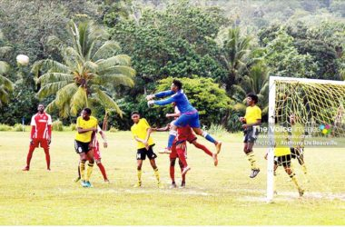 Image: Micoud custodian Noah Didier comes up with a big save against Dennery (Photo: Anthony De Beauville)