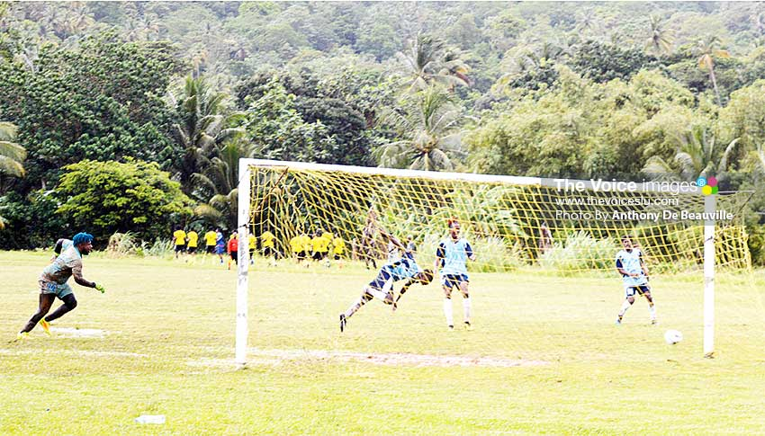 Image: One of the many scoring opportunities squandered by Micoud against Mon Repos (Photo: Anthony De Beauville)