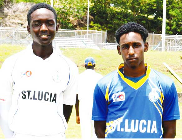 Image: (L-R) Saint Lucia and Windward Islands players Kimani Melius (25), Johnnel Eugene (29) and Simeon Gerson (3 for 75) versus Jamaica ( Photo: Anthony De Beauville)
