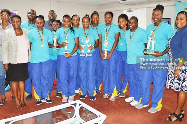 Image: A photo moment for Team Saint Lucia ECVA 2018 Champions along with the Technical staff, SLVA executive and Deputy Permanent Secretary in the Department of Youth Development and Sports, LiotaCharlemange – Mason (Photo: Anthony De Beauville)