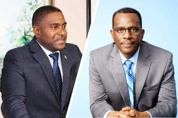 Image of (L-R) Minister Responsible for Finance in the Office of the Prime Minister Ubaldus Raymond and Opposition Leader Philip J. Pierre