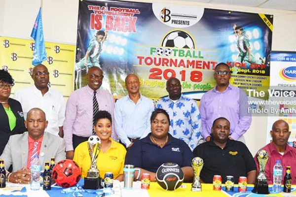 Image: A photo moment for Blackheart CEO, David Christopher, SLFA General Secretary - Victor Reid, Director for Youth Development and Sports - Patrick Mathurin, Maritime Consultant - Cuthbert Didier and Sponsors. (Photo: Anthony De Beauville)