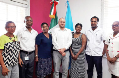 Image: From left to right: Popo, Obodoechina, NWU Education and Secretariat Activities Coordinator Norma Maynard, Imanol from the Mexican Embassy here, Yoland, Francis and Phillips-Augustin.