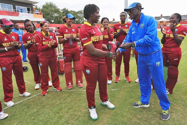 Image: Qiana Joseph on debut against South Africa for the West Indies in the ICC 2017 Women's Cricket World Cup in England gets her cap from Vasbert Drakes (Photo: IDI/Getty Images)