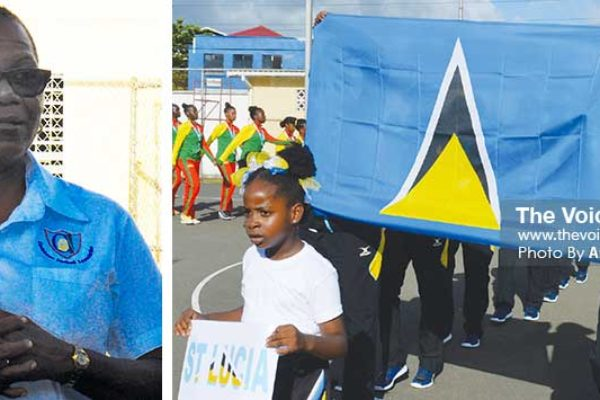 Image: Saint Lucia Netball Association President Rufina Paul and Saint Lucia Under-16 girls on parade (PHOTOS: Anthony De Beauville)