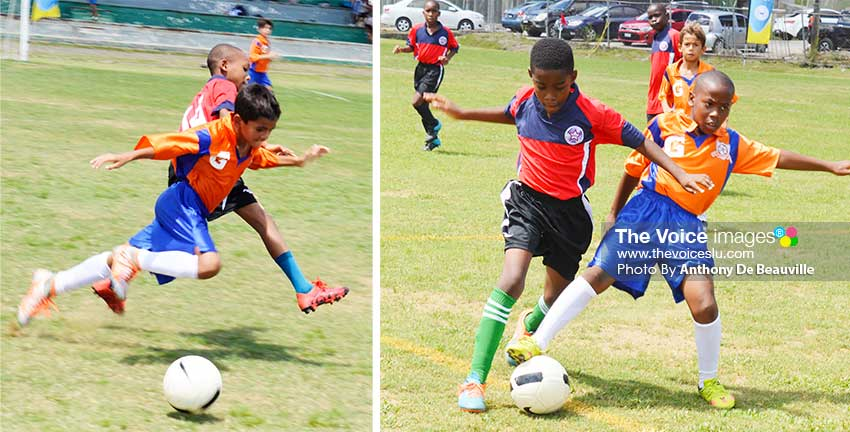 Image: (L-R) Some of the action between FLOW Lancers FC and Valley Soccer FC. (PHOTO: Anthony De Beauville)