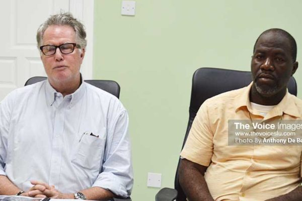 Image: (L-R) Sports Consultant Don Lockerbie and Minister of Youth Development and Sports, Attaché - Ricky Alexander at the media press conference (Photo: Anthony De Beauville)