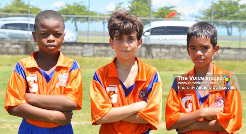 Image: (L-R) Goal scorers for Valley Soccer FC against Flow Lancers FC, Urai Clovis, Daniel Zakhour and Alex Deveaux (PHOTO: Anthony De Beauville)