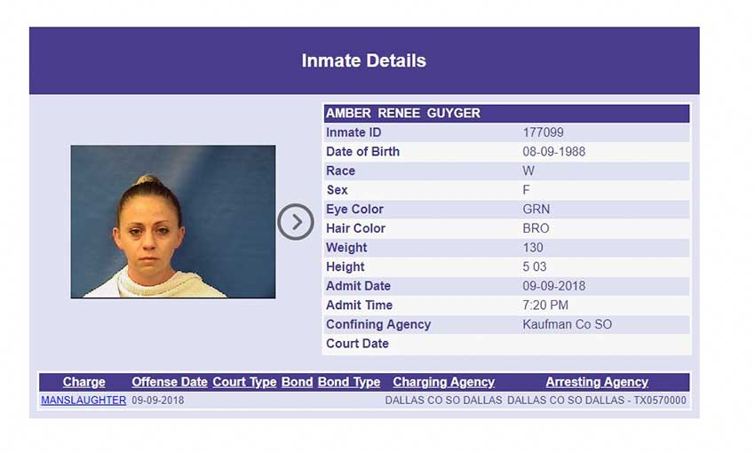 Image: Arrest record for Amber Guyger(KAUFMAN COUNTY JAIL)