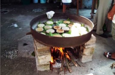 Image: Cassava on the firestone grill...