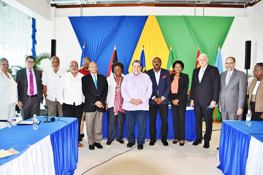 Image: Host PM Dr Gonsalves with fellow Prime Ministers, Transport Ministers, OECS and LIAT officials following yesterday's summit meeting.