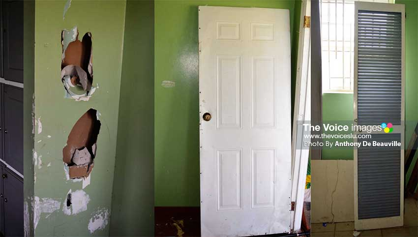 Image: Just some of the vandalism which has taken place in the Gros Islet; walls ripped, doors removed from their hinges for various reasons. (PHOTO: Anthony De Beauville)