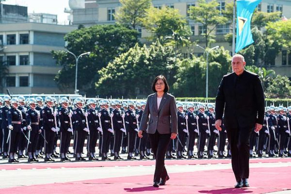 Image: President Tsai and PM Chastanet reviewed the guard of honour on the PM's last visit to Taipei.