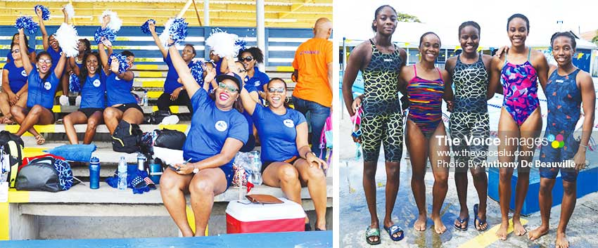 Image: The life of the party, Sea Island Cotton, best support group; some female members of the Saint Lucia team for the OECS Swim Championship in Antigua next month were also in the mix on Sunday 13th October. (PHOTO: Anthony De Beauville)