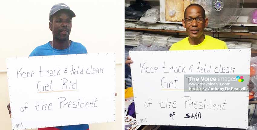 Image: (l-r) Cuthbert Modeste (Head Coach Survivors track and field club) and John Gaston Head Coach Road Busters Club certainly want to see the current SLAA President booted out of office (Photo: Anthony De Beauville)